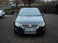 VOLKSWAGEN PASSAT 2.0 TDI SE CR 140 DIESEL 6 SPEED 2008 BLACK 4 DR SALOON WITH F.S.H LONG MOT 2KEYS