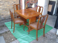 Extending Dinning / kitchen Table & 4 chairs Art Deco Walnut 1940s /1950s ##FREE LOCAL DELIVERY##