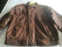 Men's large brown leather jacket