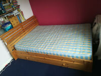 Wooden double bed wioth under bed drawers, with or without mattress