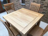 Solid Oak Dining Set - Table and 4 Chairs
