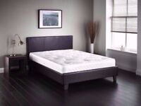 🔥FREE DELIVERY🔥🔥NEW🔥🔥 ITALIAN LEATHER DOUBLE / KING BED w 9inch DUAL-SIDED DEEP QUILT MATTRESS
