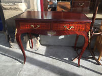 French style desk , 2 drawers , curved legs . In good condition, Free local delivery.