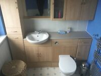 3 peice bathroom suite with wall, floor units and mirror