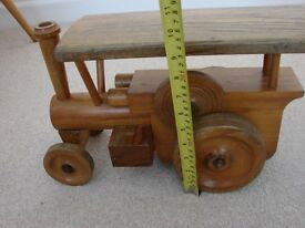 Large Vintage Handmade Wooden Toy Steam Engine