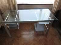 Office Desk - Glass & Chrome