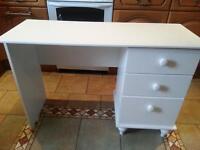 wooden desk .white