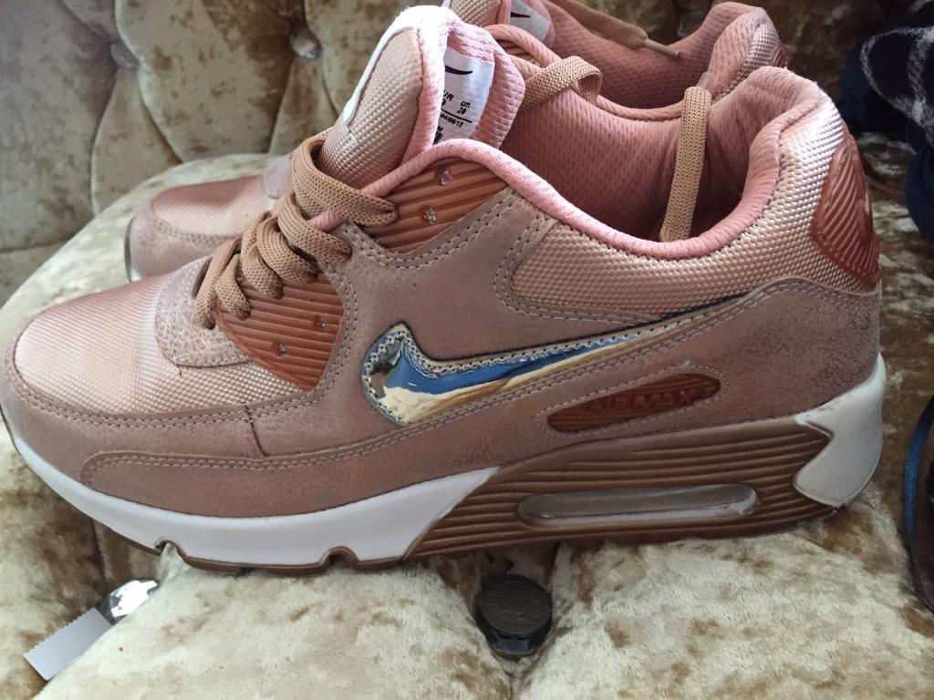 Rose gold nike air max trainers
