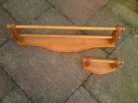 Golden pine towel rail and roll holder