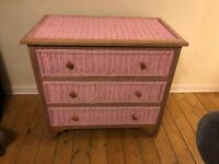 Pink Vintage Wicker Chest of Draws
