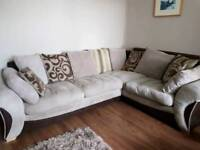 Large corner sofa with swivle cuddle chair and pouffe