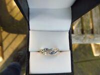 9ct Gold ladies sapphire and diamond twist ring