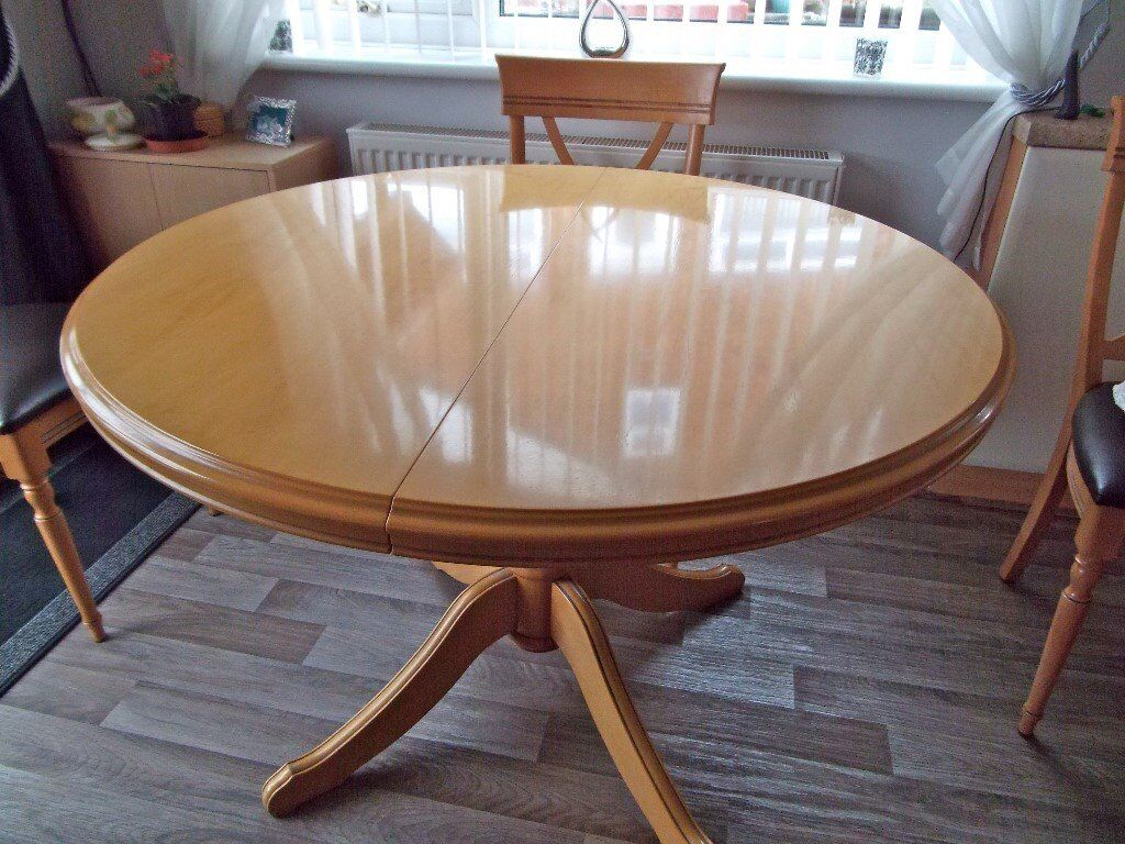 Round Dining Room Table Chairs And Matching Cupboard