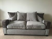 3 seater sofa + large swivel chair + half moon footstool