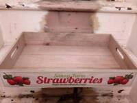 Vintage style fruit crate breakfast tray. Strawberry. Rustic