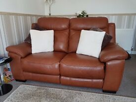 SOFA + 2 CHAIRS LEATHER, ELECTRIC RECLINERS