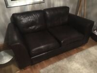 2 seater brown leather sofa (Next)