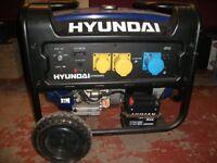 Hyundai generator. Petrol driven. HP9000LE model. 6Kva output.