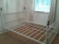 Double bed frame cream metal