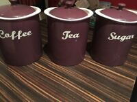 Tea, Coffee and Sugar Storage Pots