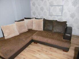 Large L Shaped Brown & Tan Sofa