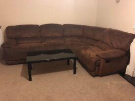 5 double seat L shape sofa with 2 leg rest
