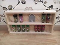 Kitchen Wooden Spice Rack - Shelves Wall Display Unit made from wood and finished with Beeswax.