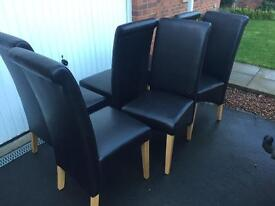 6 x brown leather dining chairs