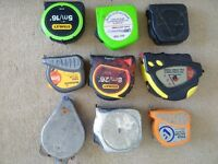 8 x Assorted Tape Measures + 1 x Plumb Line (Job Lot)