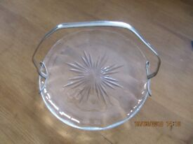 Vintage Silver EPNS handled glass dish - silver handle may be removed, should fit plates of similar