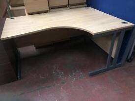 1600mm Oak Veneer Curved Desk with Back Panels