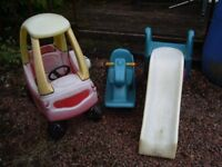 three outdoor toys