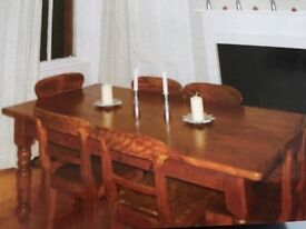 Dining table and 6 antique chairs can seat up to 8 easily