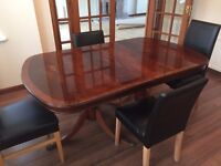 DINING ROOM TABLE + 4 BROWN LEATHER CHAIRS, HAZELHEAD AREA