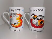 2 x Contented Pets by Rayware Fine Porcelain Mug Made in England