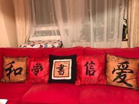 Chinese symbol cushions x 5