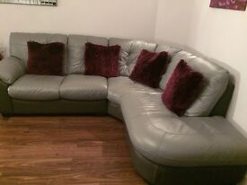 Excellent condition Two toned grey corner sofa with swivel chair and footstool