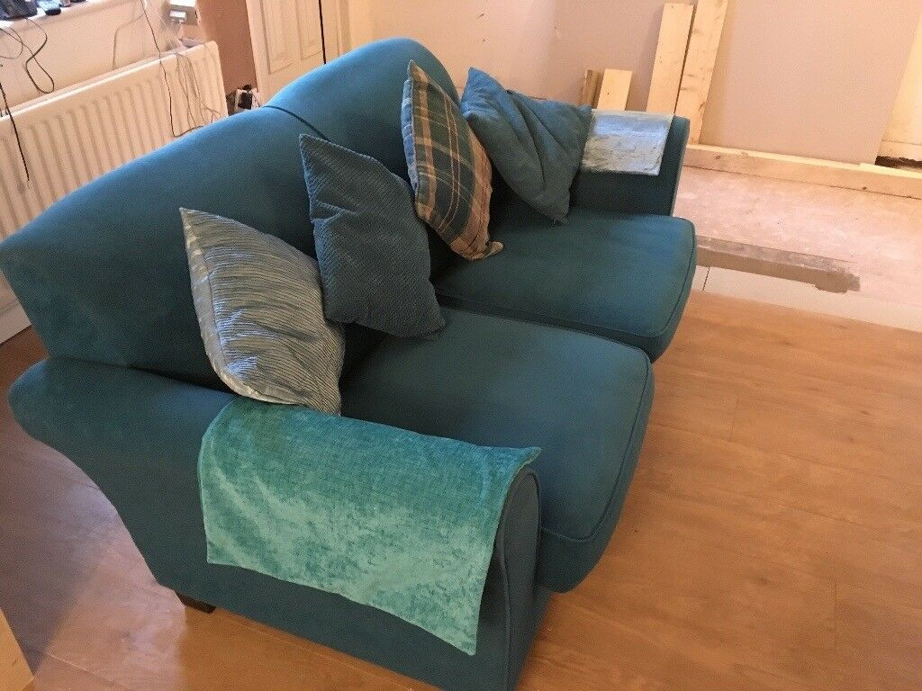 Teal / Turquoise / Blue Two Seater Sofa