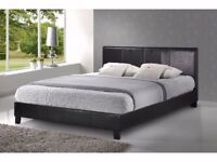 GUARANTEED PRICE * BRAND NEW DOUBLE FAUX LEATHER BED FRAME WITH ORTHOPAEDIC FOAM MATTRESS
