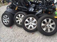 195 65 R15 Peugeot 307 alloy wheels - very good tyre thread - 15 inch alloys £70