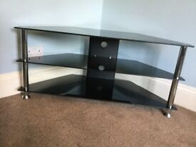 Black Glass & Chrome Corner TV Unit / TV Stand with 2 Fixed Shelves H19in/48cmW42in/107cmD18in/46cm