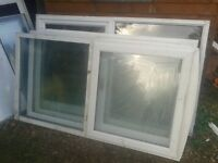FREE 3 LARGE UPVC WINDOWS FRAMES INCLUDING SEALED DOUBLE GLAZED GLASS PANES.PERFECT FOR SHED GARAGE