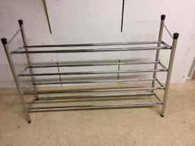 Shoe Rack extendable chrome 4 shelves