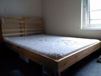 IKEA DOUBLE BED - TARVA FRAME & MOSHULT MATTRESS