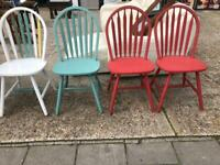 4 x Painted wooden chairs
