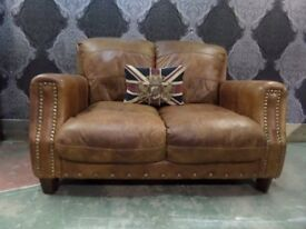 Stunning Barker & Stonehouse Chesterfield Tan Leather 2 Seater Sofa - Uk Delivery