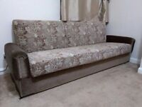 """3 Seater Large Brown Settee Sofa With Storage Area Floral Pattern Approx Size 79x29x20"""""""