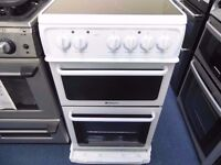 EX-DISPLAY WHITE HOTPOINT 50 WIDE ELECTRIC COOKER REF: 13295