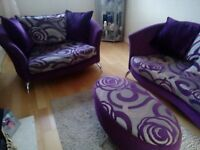 Nikita 4 & 2 Seater Sofa + Poufy For Sale