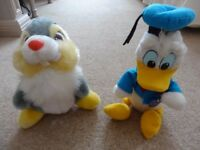 DISNEY SOFT TOYS - DONALD DUCK (WITH ORIGINAL TAG) & THUMPER